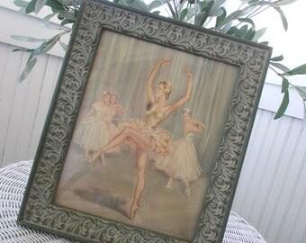 Vintage Ballerina Print * Signed * Gesso Frame