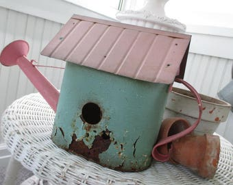 SALE * Vintage Bird House * PINK * Shabby Chic * AQUA * Chippy Rusty Patina * Watering Can
