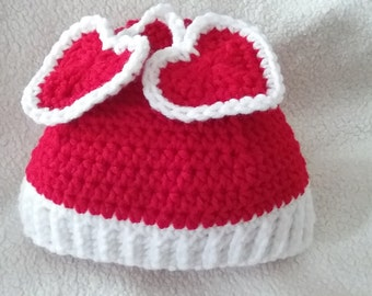Pattern, 12 months to 2 years Heart Crochet Hat, red PDF Pattern