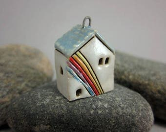 SECOND*** Rainbow Cottage...Stoneware House Pendant...Baby Blue Roof