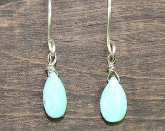 Persian Turquoise Drop Earrings, Turquoise Drop Earrings, Turquoise Dangle Earrings