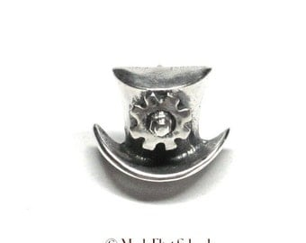 Top Hat & Gear SteamPunk tie tac, tac pin / steamy solid Sterling Silver