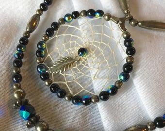 Vintage Long Double Strand Beaded Dreamcatcher Necklace Boho Layered Piece