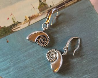 Silver Nautilus Shell Earrings
