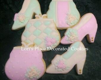 Vintage Purse and Shoe Cookies - Purse Cookies - Shoe Cookies - 12 Cookies