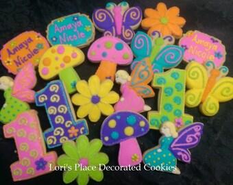 Fairy First Birthday Cookies - 18 Cookies