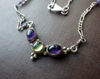 Vintage Peridot Amethyst Necklace - Sterling Silver