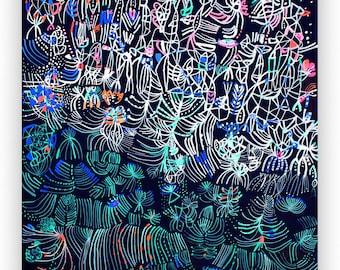 Hakuro-nishiki Art painting abstract art colorful art unique art small painting abstract painting home decor flower art acrylic painting