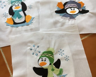 Penguins - 3 bright embroidered quilt blocks -  ready to sew - 9 in squares / DIY / sewist / winter / snowflake / friends / trio / homemade