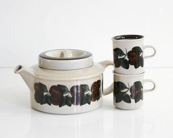 Vintage Arabia Finland Ruija Teapot / Arabia Finland Teapot / Ruija Tea Pot by Raija Uosikkinen / Hand Painted Ceramic Teapot