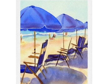 Beach Chairs Watercolor Print