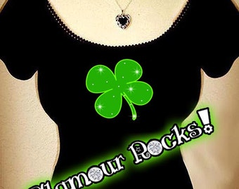Saint Patricks Day St Pattys Day Clover Shamrock  Irish Off Shoulder Rhinestone Crystal Tee T Shirt Top