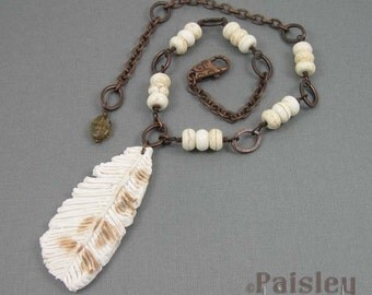 Snowy Owl feather necklace, winter white polymer clay pendant on beaded copper chain