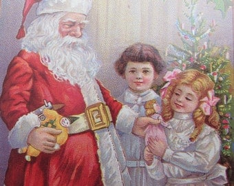 Santa with Children Christmas Card Vintage Postcard Repro Ephemera Lot of 6