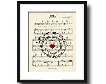 The Beatles I Will  (Love You Forever) Song Lyric Sheet Music Art Print,  Beatles Love Song, Custom Wedding Gift, Custom Anniversary Gift