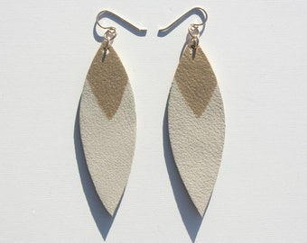 Painted Leather Leaf Earrings - White Leather and Gold with 14K Gold-Fill