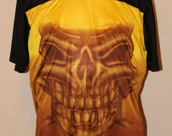 """SALE! Vintage Men's """"no boundaries"""" polyester tee shirt,  Skull Face Front and Back"""