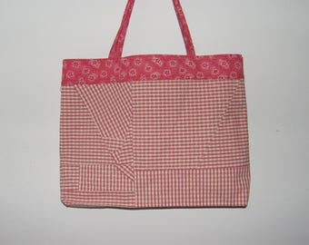 Tote/Grocery Bag in Pink, Red, and White Plaid