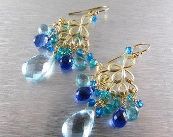 25OFF Blue Gemstone Gold Filled Chandelier Earrings