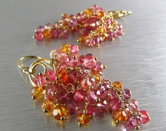 25OFF Pink And Orange Quartz Cluster Gold Earrings, Waterfall Design