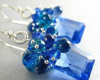 25% Off Blue Topaz, Lapis, Apatite and Quartz Gemstone Sterling Silver Earrings