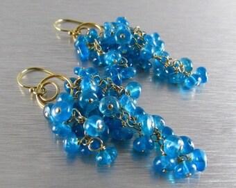 25% Off Neon Blue Apatite Waterfall Earrings, Cluster Earrings
