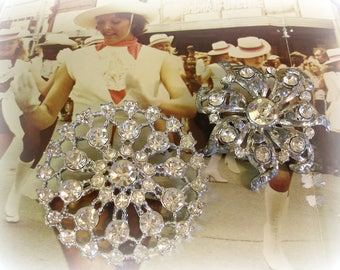 2 LARGE Vintage Pot Metal and Rhinestone Brooches Intact and Ready to Wear Brilliant Rhinestones