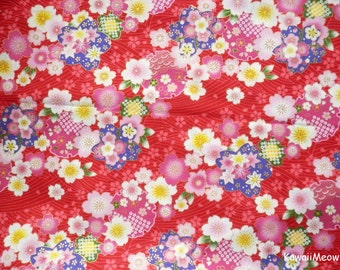 Japanese Kimono Fabric - Sakura Cherry Blossoms on Red - Half Yard (no20161110)