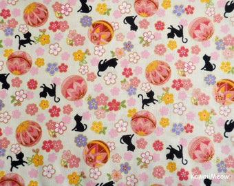 Cute Kimono Fabric - Temari Cats Sakura on Cream - Half Yard (nu170419)