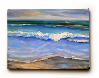Seascape Giclee Print, Art Print on Wood Planks, Seascape Print, Choose Your Size, Ready to Hang, Free Shipping, No Frame Required