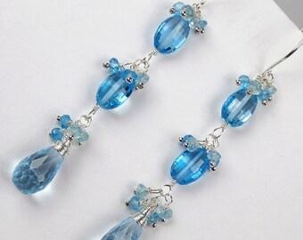 PRESIDENTS DAY SALE Swiss Blue Topaz Earrings Wire Wrapped Sterling Silver Long Blue Dangle Earrings, Blue Gemstone Jewelry December Birthst