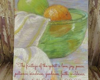 "5"" x 7"" Print ~ Fruitage of Spirit - Galatians 5:22, 23 Scripture ~ Soft Chalk Pastels Fruit"