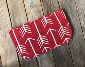 Red White  Arrow Folding magnetic diaper clutch -Diaper Holder - Diaper Pouch - wipes holder - Mom Baby Gift