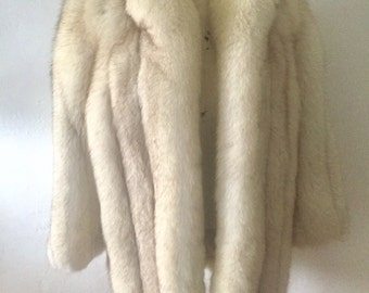 Vintage SaGa Fur white blue fox fur full pelts winter cozy coat jacket winter fur coat lrg or xl