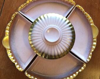 Vintage Northington USA Lazy Susan Serving Trays, Chip Dip Ceramic Covered Bowl