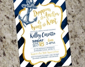 Navy and Gold Nautical Anchor Bridal Shower Invitation with Vintage Look - DIY Print Your Own