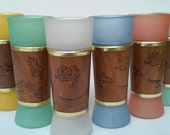 1960s Pastel Frosted Tiki Glasses Tumblers Siesta Ware Vintage Set of 6