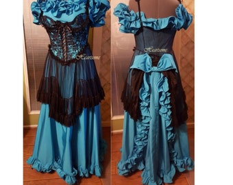 Masquerade saloon costume western teal turquoise blue black lace steam punk gown corset OOAK