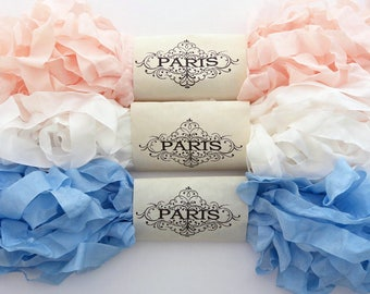 Seam Binding Ribbon, Pink, Blue, White, Rayon Shabby Crinkled Ribbon, French Vintage,Scrapbooking, Sewing,Doll Making,  Fleur Boutique
