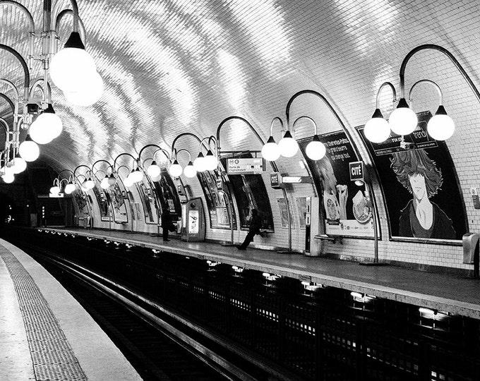 Paris Photography, Paris Metro Cité , Black and White Photography, Parisian Metro, Francophile Wall Art, Valentines Day Gift, Rain in Paris