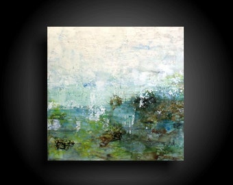 Large Abstract Painting 36 x 36 Original Encaustic Painting Modern Minimalist Wall Art White Painting Green Blue Interior Design