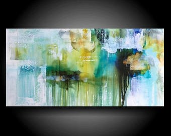 Large Abstract Painting 30 x 15 Blue Green Painting Textured Canvas Wall Art Home Decor Outsider Art Modern Original Painting