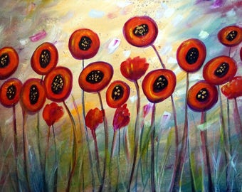 Original Painting Poppy Flowers Sunset Mist Large Whimsical Colorful Artwork on Canvas 48x24