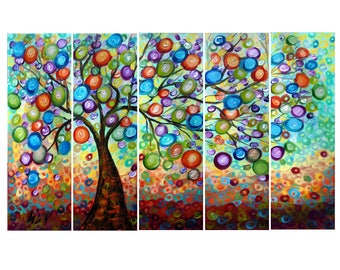 "Abstract 50"" Landscape  Original Large Painting OLIVE Tree of Life Whimsical RAIN Art by Luiza Vizoli"