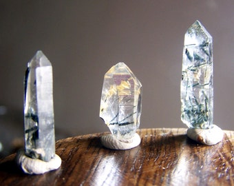 3 Quartz crystal points with green epidote needles like rutillated - rare specimen coyoterainbow - clear raw natural wire wrap supply Pq8Q