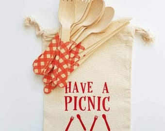 Picnic Bag & Optional 4 Sets Of Utensils Or More