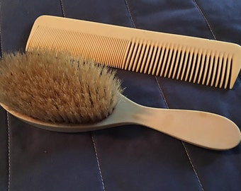 Vintage French Celluloid Vanity set comb and brush