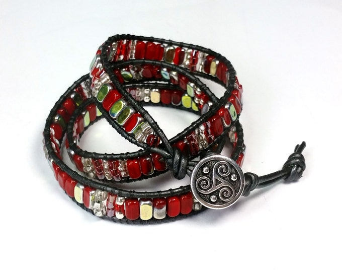 Red and Metallic Triple Wrap Bracelet with Triskele Button Closing