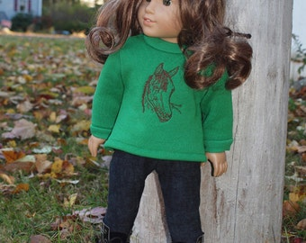 18 inch Doll Clothes - Girls Dolls - Sweatshirt  Outfit -  Horse Theme - Green