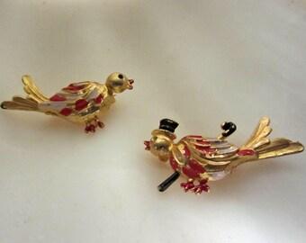 Shabby Chic Dapper Birdies Vintage  Scatter Pin Duet 50's